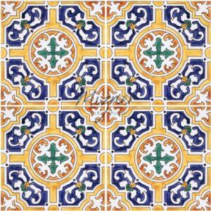 HP-700 Hand Painted Tile Dutch-Mizner Style by Mizner Tile Studio - Multiple Tile View