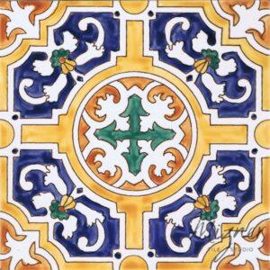 HP-700 Hand Painted Tile Dutch-Mizner Style by Mizner Tile Studio - Single Tile View