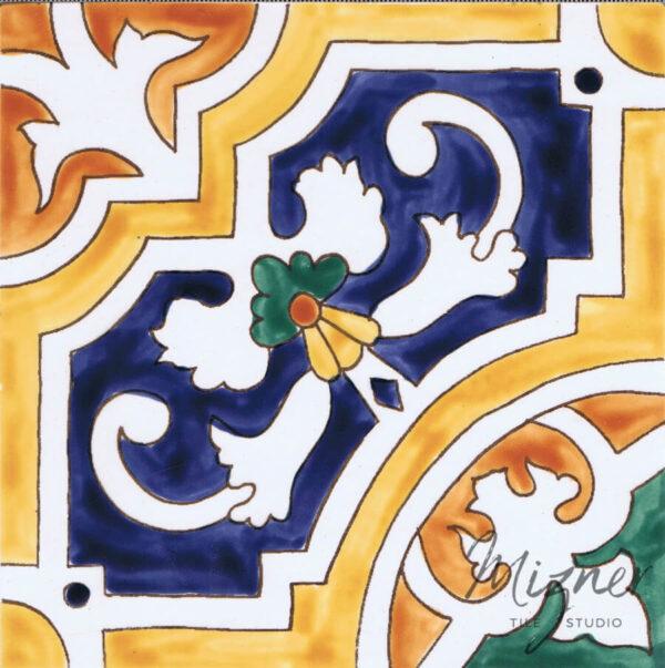 HP-500 Hand Painted Tile by Mizner Tile Studio - single tile view