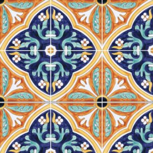Hand Painted Tile HP-501 Mizner Tile Studio - pattern view