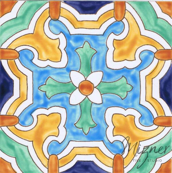 Hand Painted Tile from Mizer Tile Studio - HP-503 single tile