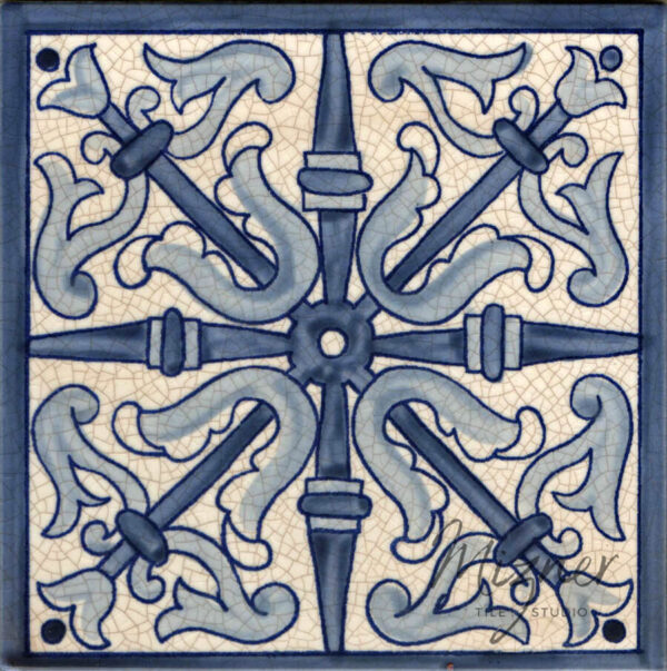 Hand Painted Tile HP-504 from Mizner Tile Studio - Single Tile