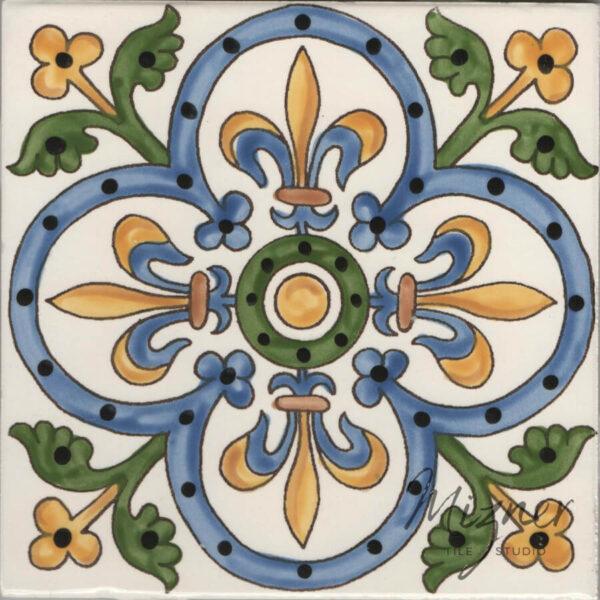 Hand Painted Tile - HP-505 MIzner Tile Studio - Single Tile