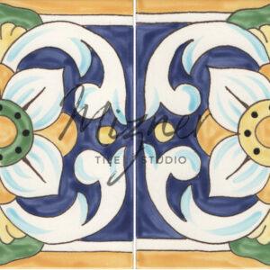 Custom Hand Painted Tile HP-506 from Mizner Tile Studio - waterline or riser