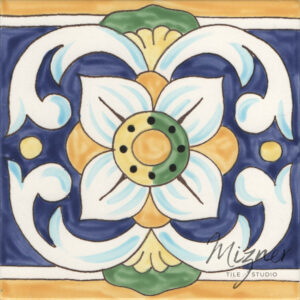 Custom Hand Painted Tile HP-506 from Mizner Tile Studio -Single Tile