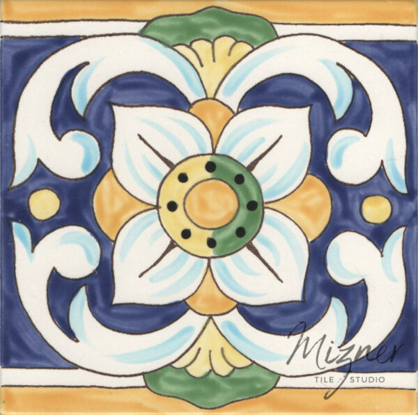Custom Hand Painted Tile HP-506 from Mizner Tile Studio -Single Tile