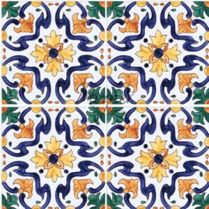 Hand Painted Tile 4-Tile Pattern - Portuguese Style HP-507 from Mizner Tile Studio