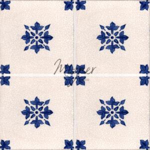 Hand painted tiles in a 4 tile pattern from Mizner Tile Studio