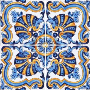 Hand Painted Tile - HP-511 4 Tile Design - Mizner Tile Studio