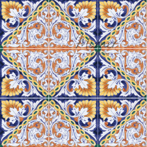 Hand Painted Tile group of 8 - HP-512 - Mizner Tile Studio