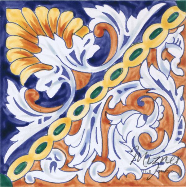 Hand Painted Tile Single Tile - HP-512 - Mizner Tile Studio