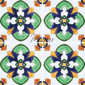 Hand Painted Tile pattern with 4 tiles - Mizner Tile Studio