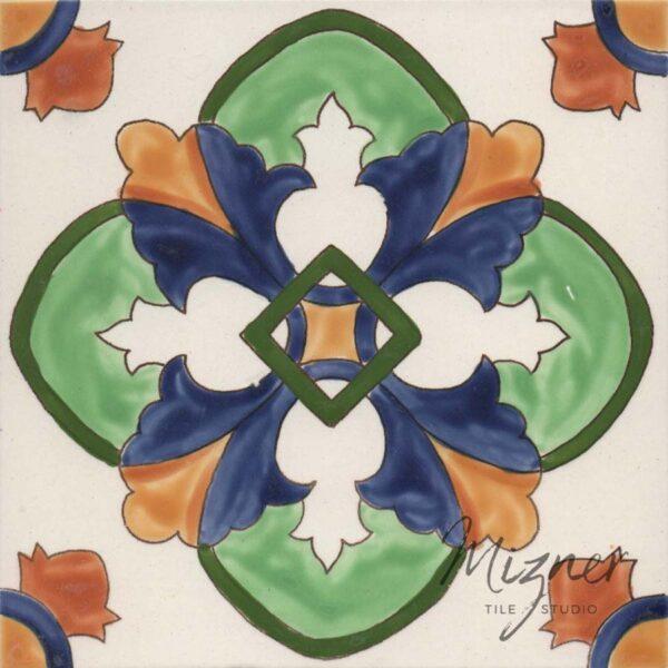 Hand Painted Tile single tile - Mizner Tile Studio