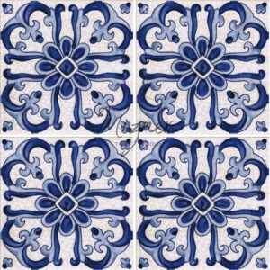 Hand Painted Tile 4-Tile Pattern - Portuguese Style HP-515 from Mizner Tile Studio