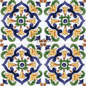 Hand Painted Tile - 4 tile pattern - HP-516 - Mizner Tile Studio