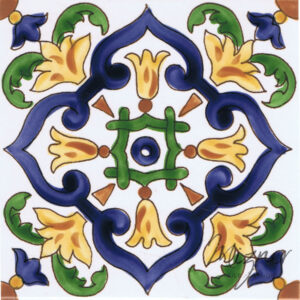 Hand Painted Tile - Single Tile- HP-516 - Mizner Tile Studio