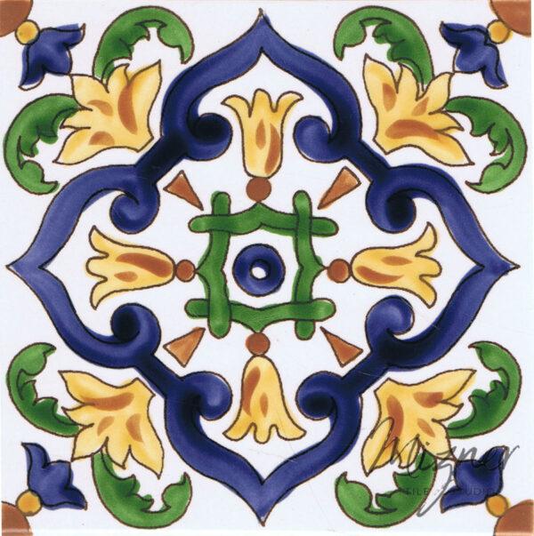 Hand Painted Tile - Single Tile- HP-516 - Mizner Tile Studio