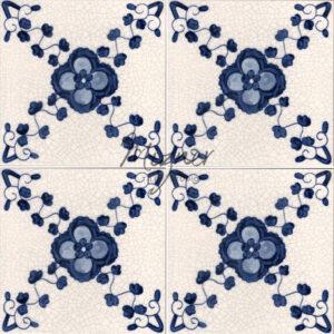 Hand Painted Tile 4-Tile pattern - Style HP-517 from Mizner Tile Studio