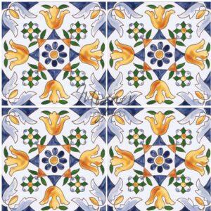 Hand Painted Tile 4-Tile Pattern - Style HP-519 from Mizner Tile Studio