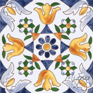 Hand Painted Tile 1-Single Tile - Style HP-519 from Mizner Tile Studio
