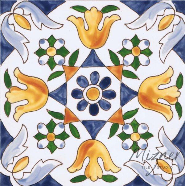 Hand Painted Tile 1-Single Tile - Style HP-519 from Mizner Tile Studio