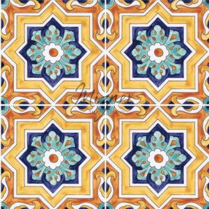 Hand Painted Tile four tile view - Style HP-520 from Mizner Tile Studio