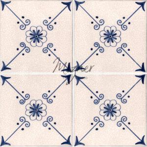 Hand Painted Tile 4-Tile Pattern - Style HP-522 from Mizner Tile Studio