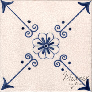 Hand Painted Tile 1-Single Tile - Style HP-522 from Mizner Tile Studio
