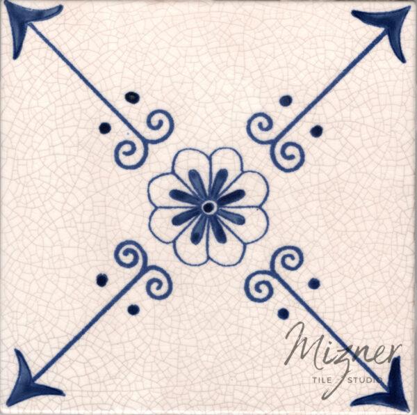 Hand Painted Tile 1-Single Tile - Style HP-522 from Mizner Tile Studio