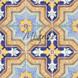 HP-526 Hand Painted Tile Dutch-Mizner Style by Mizner Tile Studio - Multiple Tile View