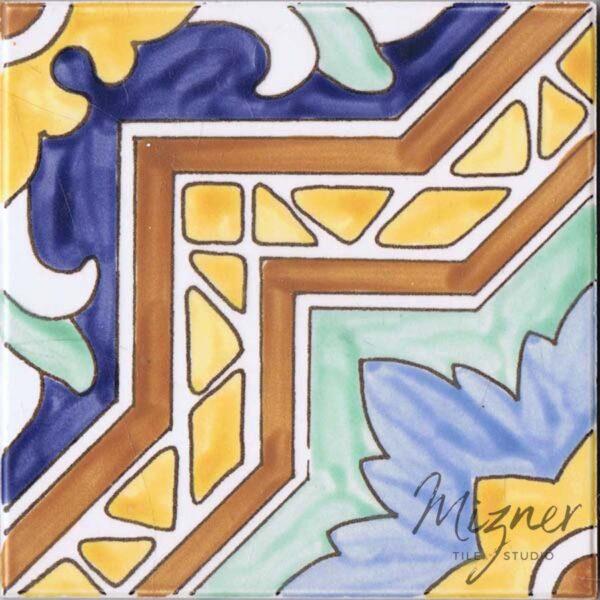HP-526 Hand Painted Tile Dutch-Mizner Style by Mizner Tile Studio - Single Tile View