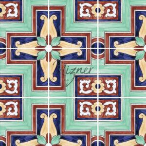 HP-527 Hand Painted Tile Dutch-Mizner Style by Mizner Tile Studio - Multiple Tile View