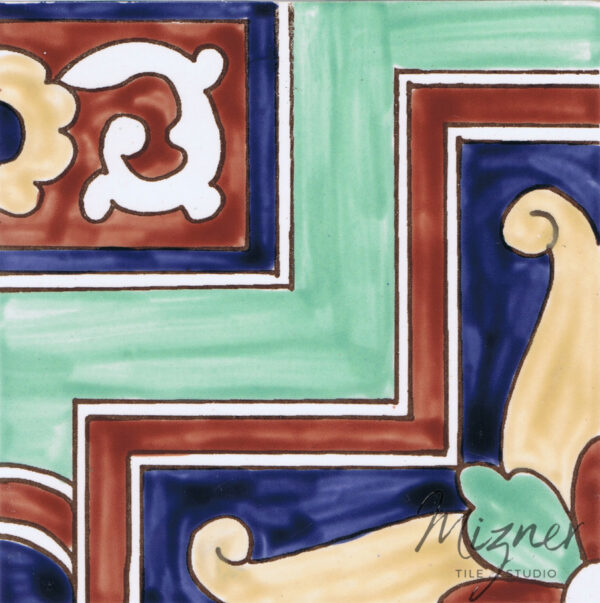 HP-527 Hand Painted Tile Dutch-Mizner Style by Mizner Tile Studio - Single Tile View