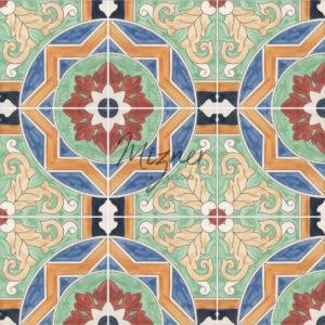 HP-528 Hand Painted Tile Dutch-Mizner Style by Mizner Tile Studio - Multiple Tile View