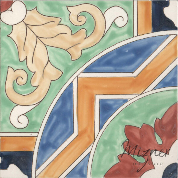 HP-528 Hand Painted Tile Dutch-Mizner Style by Mizner Tile Studio - Single Tile View