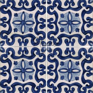 Hand Painted Tile 4-Tile Pattern - Style HP-529 from Mizner Tile Studio
