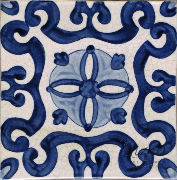 Hand Painted Tile 1-Single Tile - Style HP-529 from Mizner Tile Studio
