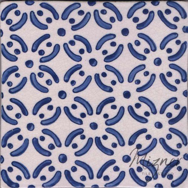Hand Painted Tile 1-Single Tile - Style HP-530 from Mizner Tile Studio