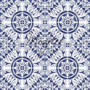 Hand Painted Tile 4-Tile Pattern - Portuguese Style HP-536 from Mizner Tile Studio