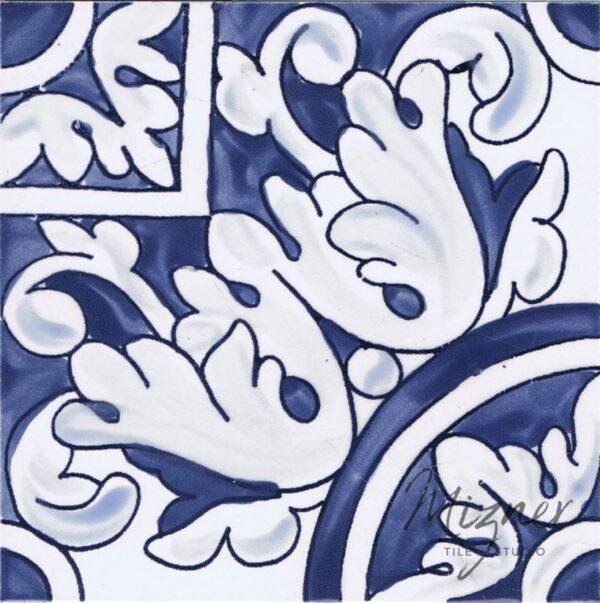 Hand Painted Tile 1-Single Tile - Portuguese Style HP-536 from Mizner Tile Studio