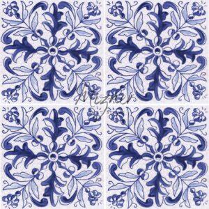 Hand Painted Tile 4-Tile Pattern - Style HP-538 from Mizner Tile Studio