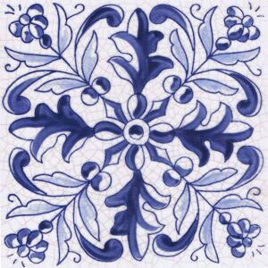 Hand Painted Tile 1-Single Tile - Style HP-538 from Mizner Tile Studio