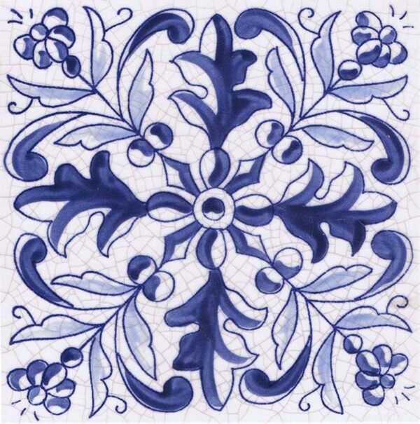 Hand Painted Tile 1-Single Tile - Style HP-538 from Mizner Tile Studio