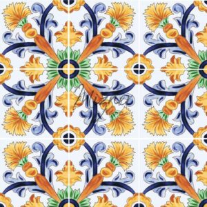 Hand Painted Tile 4-Tile Pattern - Style HP-540 from Mizner Tile Studio