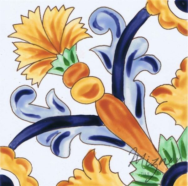 Hand Painted Tile 1-Single Tile - Style HP-540 from Mizner Tile Studio
