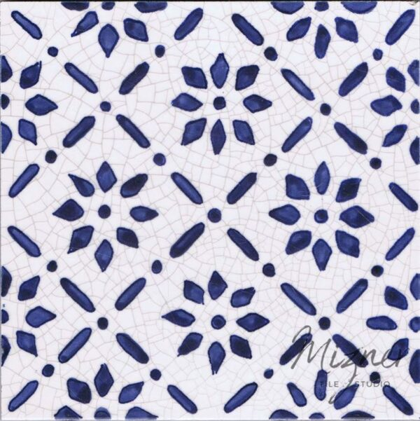 Hand Painted Tile 1-Single Tile - Style HP-542 from Mizner Tile Studio