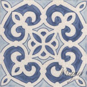 Hand Painted Tile 1-Single Tile - Style HP-548 from Mizner Tile Studio
