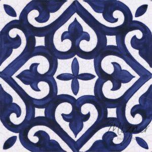Hand Painted Tile 1-Single Tile - Style HP-551 from Mizner Tile Studio