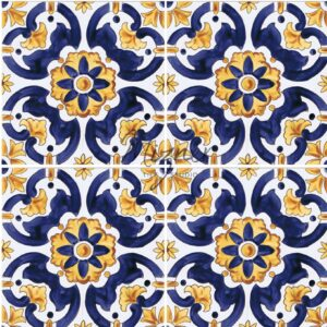 Hand Painted Tile 4-Tile Pattern - Portuguese Style HP-552 from Mizner Tile Studio