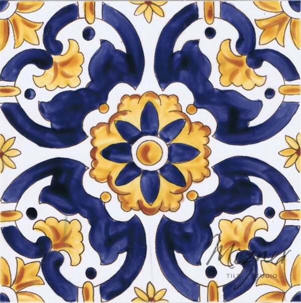 Hand Painted Tile 1-Single Tile - Portuguese Style HP-552 from Mizner Tile Studio